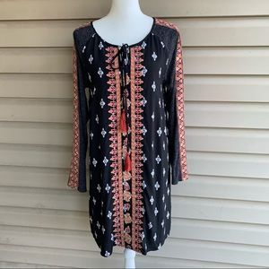 •THML• Boho Embroidered Long Sleeve Dress-Size Med